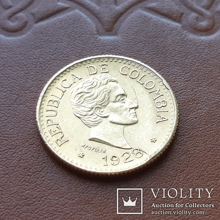 Золото 5 песо 1928 р.  Колумбія, фото №2