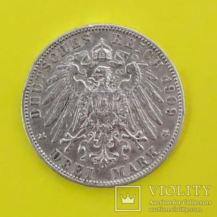 ГЕРМАНСКАЯ ИМПЕРИЯ - 3 МАРКИ 1909 ГОДА, Королевство Вюртемберг - король ВИЛЬГЕЛЬМ II, фото №3
