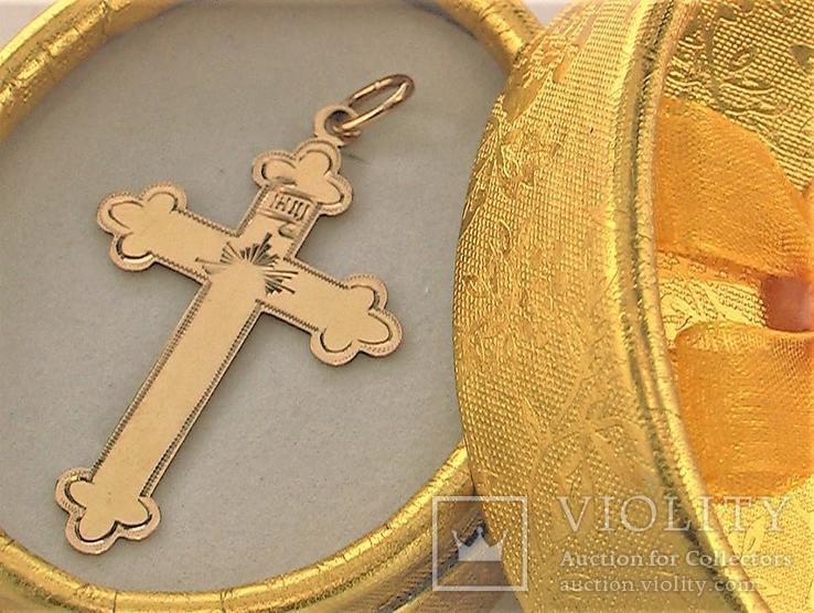 Крестик царского периода 1880 годов золото 56 пробы 1,57 грамма, фото №2