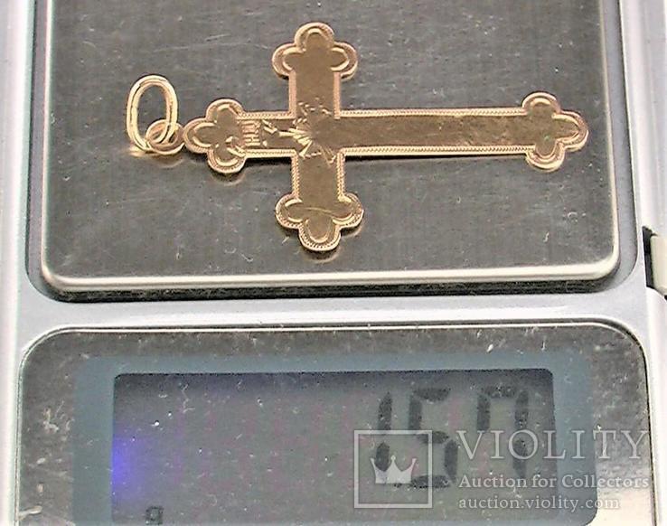 Крестик царского периода 1880 годов золото 56 пробы 1,57 грамма, фото №7