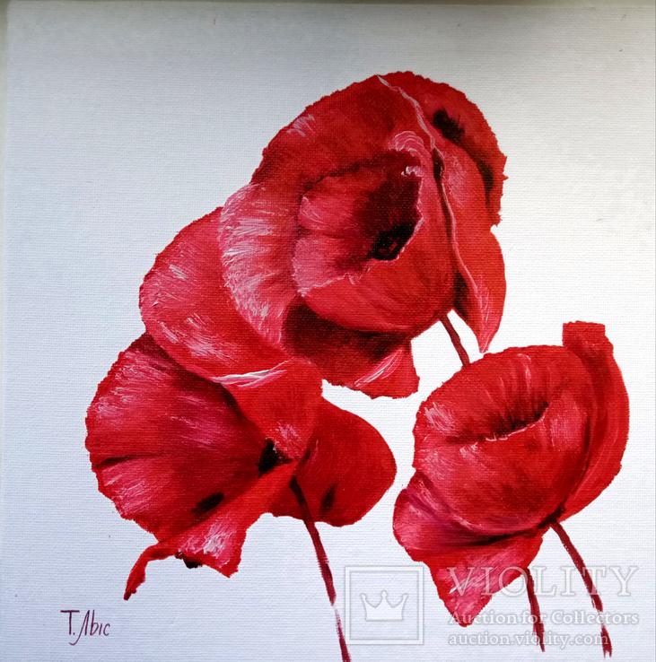 Картина маслом 25х25 Маки красные, фото №2