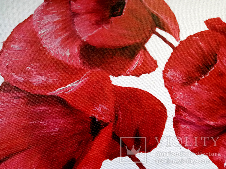 Картина маслом 25х25 Маки красные, фото №4