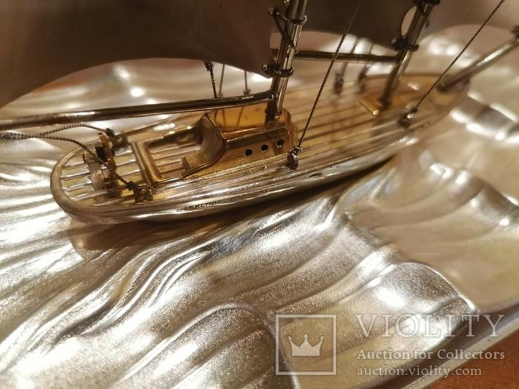 Парусник яхта серебро серебряная, фото №4