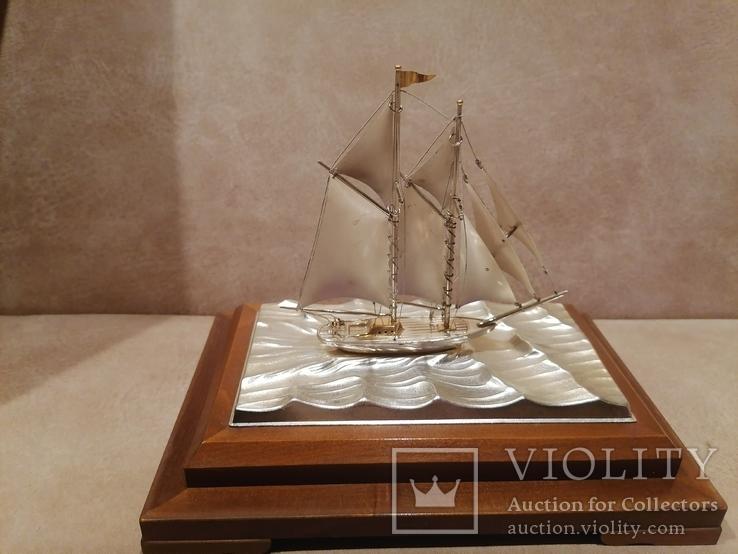 Парусник яхта серебро серебряная, фото №8