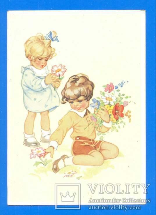 Дети с цветами 1950-е ГДР, фото №2