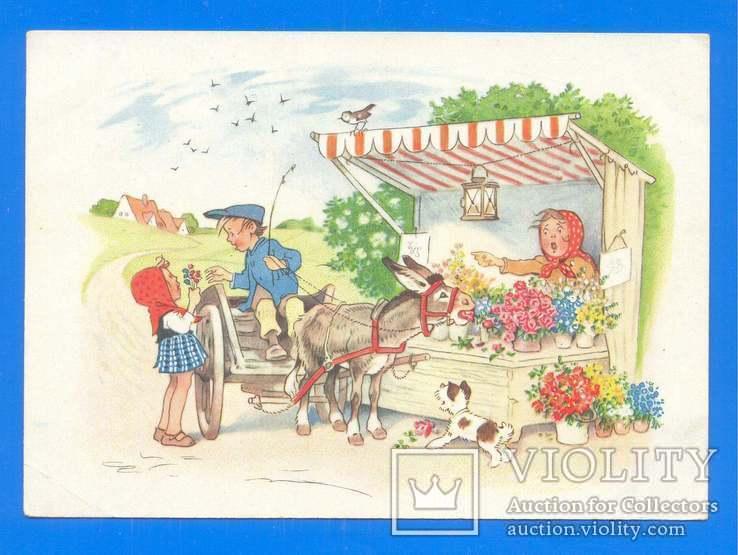 Дети и ослик у цветочной палатки ГДР 1953, фото №2