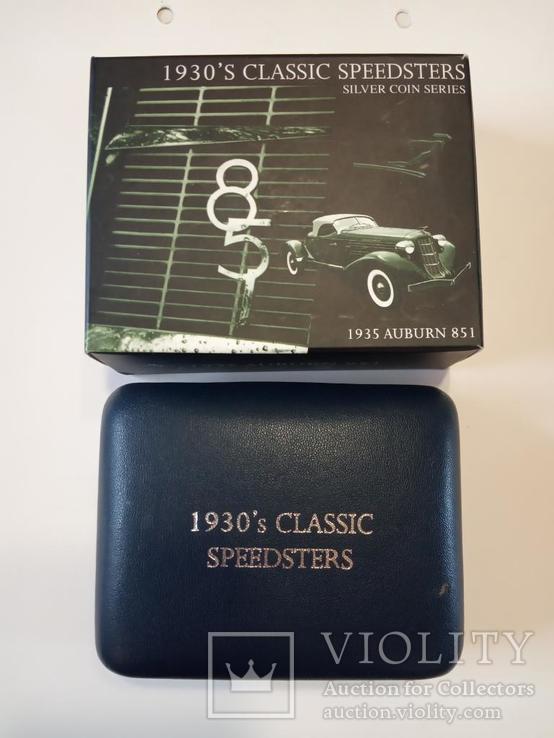 Классические спидстеры 30-х годов - Аубурн - серебро, унция, 2 доллара, фото №6