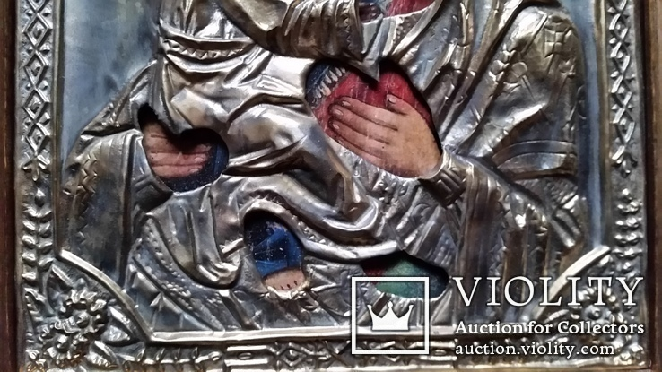 Ікона Володимирська Богоматір, латунь, 27х22, кіот, фото №6