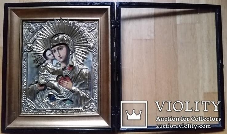 Ікона Володимирська Богоматір, латунь, 27х22, кіот, фото №9
