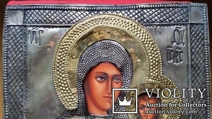 Ікона Богоматір, латунь 31х27 см, фото №3