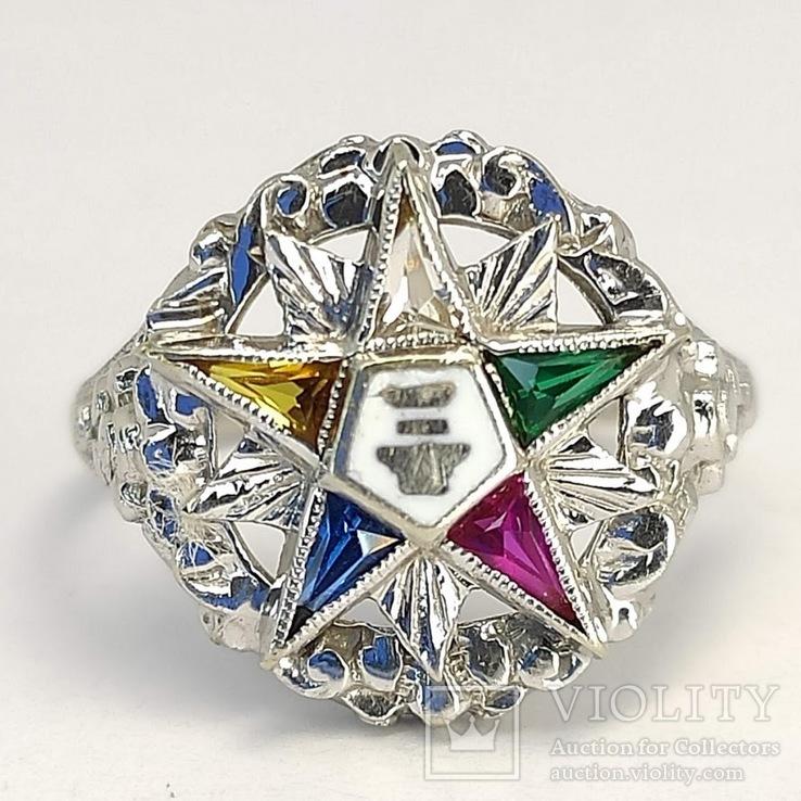 Масонское дамское золото кольцо, фото №2