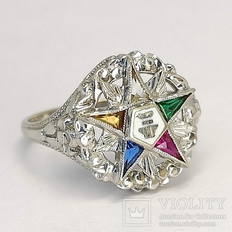 Масонское дамское золото кольцо, фото №3
