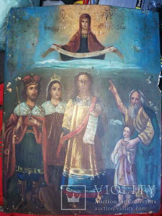 Икона Покров Пресвятой Богородицы на дереве, фото №2