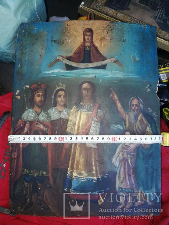 Икона Покров Пресвятой Богородицы на дереве, фото №3