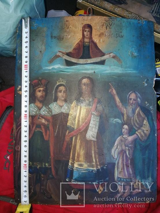 Икона Покров Пресвятой Богородицы на дереве, фото №4