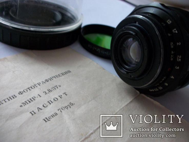 Объектив мир-1 , 2,8/37, паспорт оригинальный [надпись на латыни и без буквы] футляр, фото №5