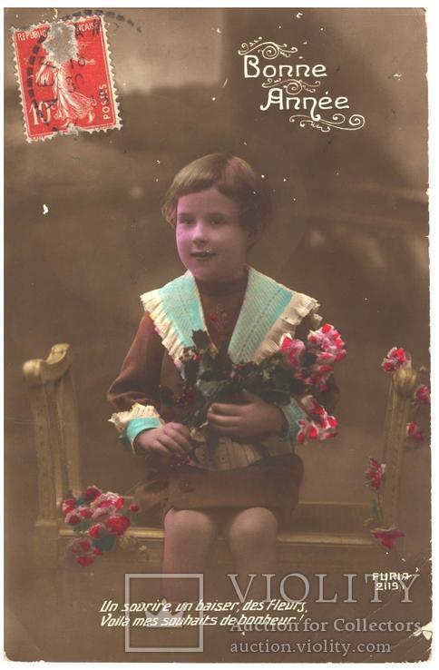 Открытка Первая мировая война фото ребенка с цветами 1918 год Франция, фото №2