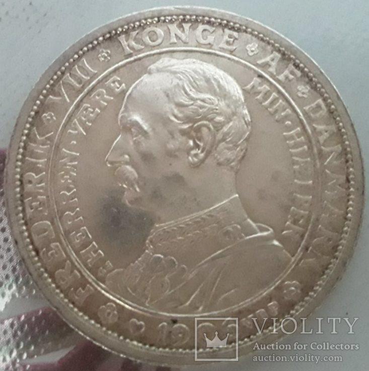 Дания, 2 кроны 1906г. юбилейные, фото №2