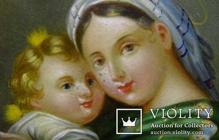 """Живописна мініатюра """"Мадонна з немовлям"""", срібна рамка, фото №4"""