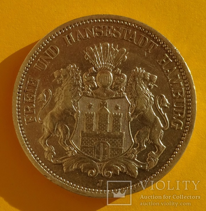 5 марок, 1896 год, Гамбург,, фото №3