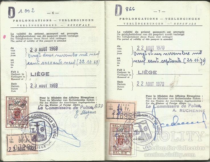 Паспорт 1968 Бельгия Непочтовые марки Пограничные штампы 46 стр., фото №5