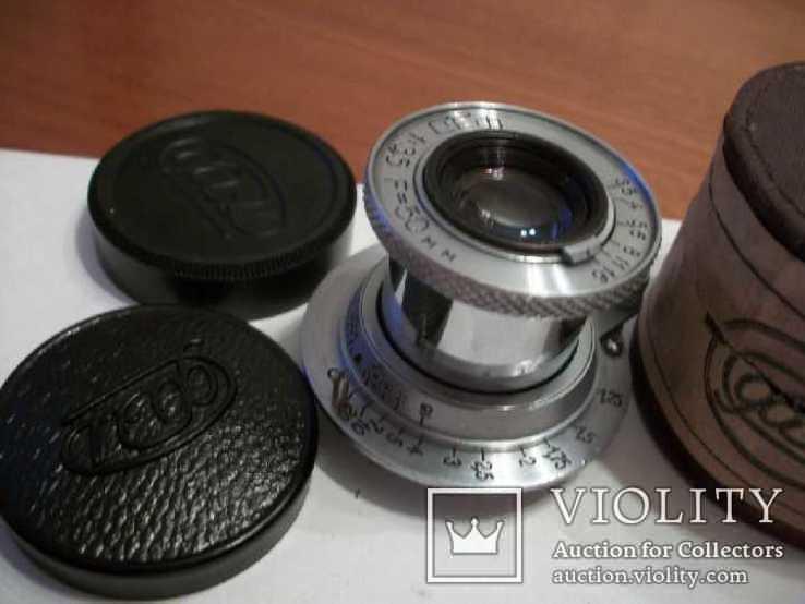 Объектив фэд 1:3,5 f50mm, коллекц, передняя-задняя крышки оригинал и футляр, фото №2