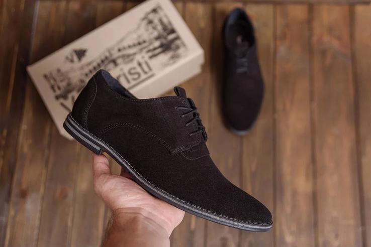 Мужские кожаные туфли классика VanKristi VK 343 замш