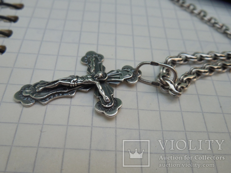 Серебрянная цепочка с крестиком, фото №4