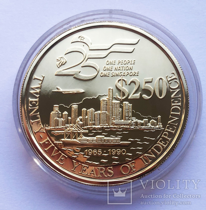 Набор монет 10, 250 и 500 долларов. Сингапур., фото №5