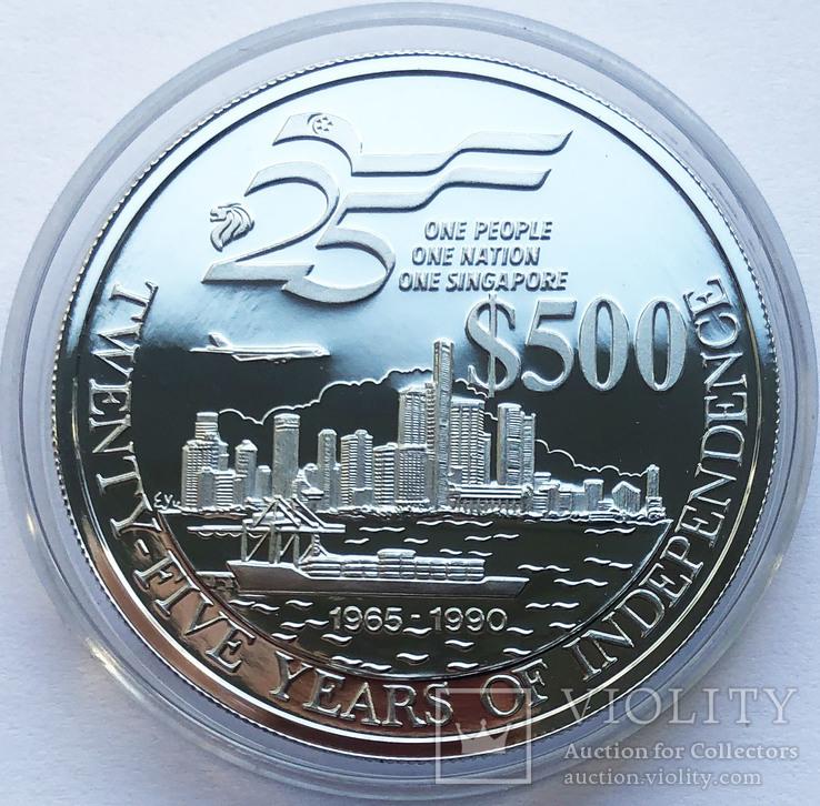 Набор монет 10, 250 и 500 долларов. Сингапур., фото №7