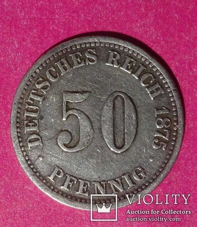 50 пфенигов. 1875 год, Германия. АА., фото №3
