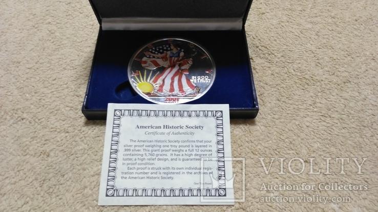 Американская Шагающая Свобода серебро+(эмаль)2001 год,Аmerican Historic Society, фото №2