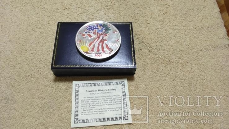 Американская Шагающая Свобода серебро+(эмаль)2001 год,Аmerican Historic Society, фото №3