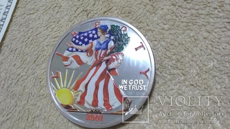 Американская Шагающая Свобода серебро+(эмаль)2001 год,Аmerican Historic Society, фото №5