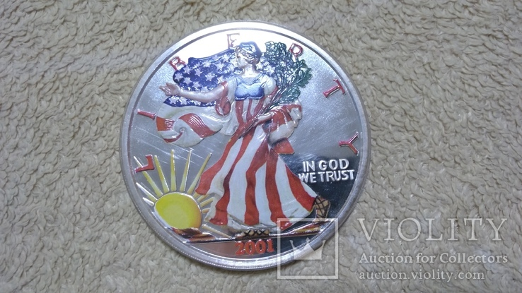 Американская Шагающая Свобода серебро+(эмаль)2001 год,Аmerican Historic Society, фото №6