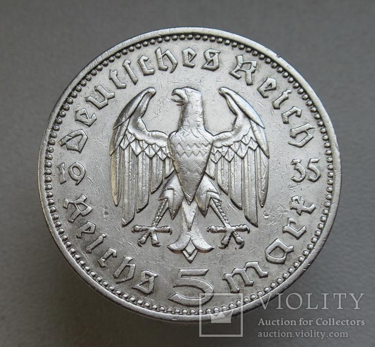 5 марок 1935 г. (J), Третий рейх, серебро, фото №5