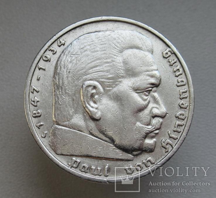 5 марок 1935 г. (J), Третий рейх, серебро, фото №6
