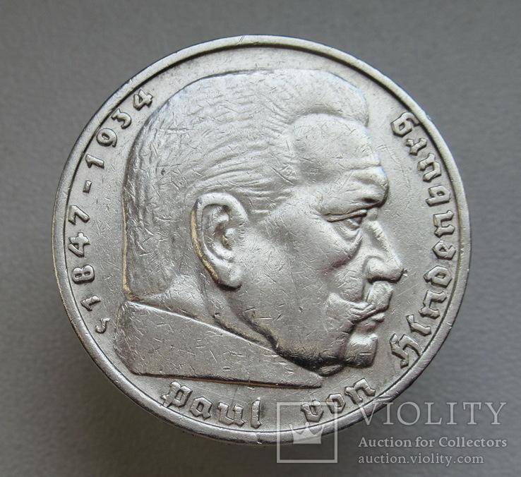 5 марок 1935 г. (J), Третий рейх, серебро, фото №7