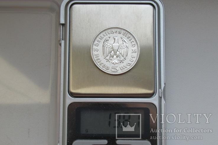5 марок 1935 г. (J), Третий рейх, серебро, фото №13