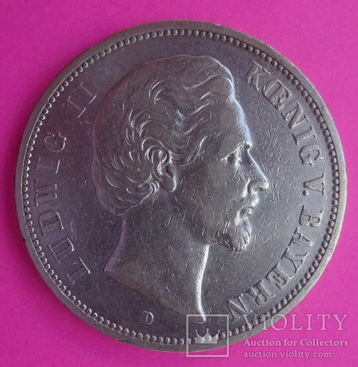1875 год, 5 марок, Бавария,, фото №3