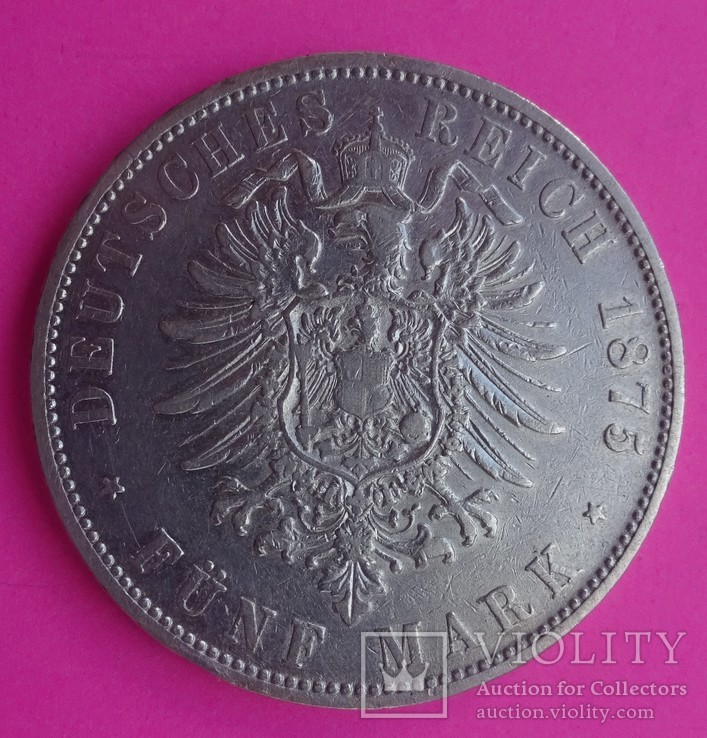 1875 год, 5 марок, Бавария,, фото №4