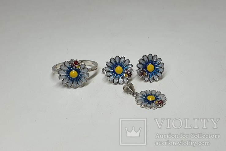 Серебряный комплект серёжки,кольцо и подвеска с эмалями в позолоте, фото №3