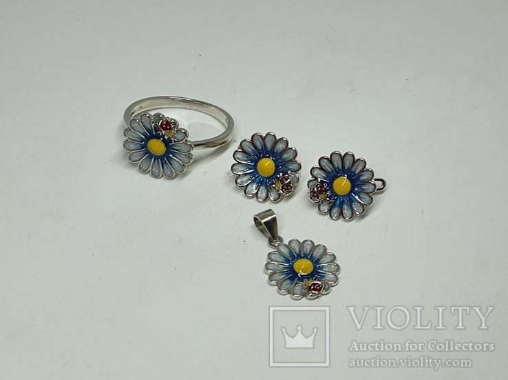 Серебряный комплект серёжки,кольцо и подвеска с эмалями в позолоте, фото №4
