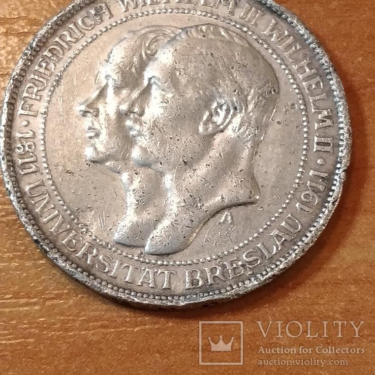 3 марки Пруссия,юбилейная,100 лет университета Бреслау, фото №4