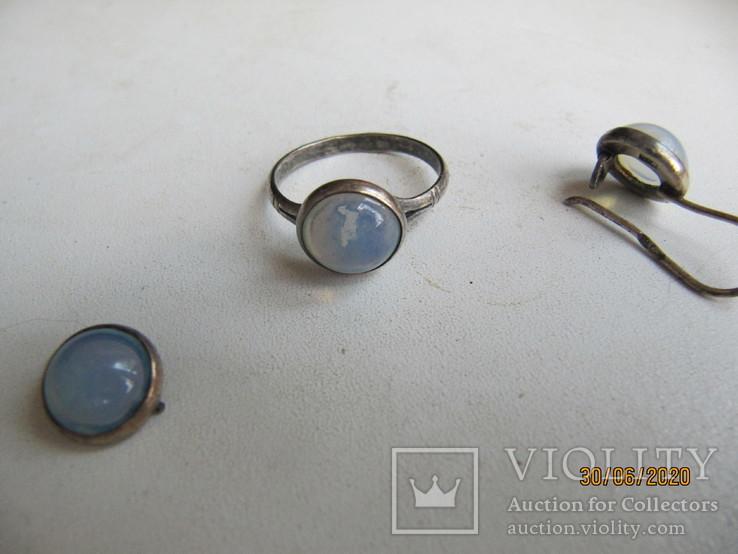 Кольцо и серьги СССР 875 проба под реставрацию, фото №3