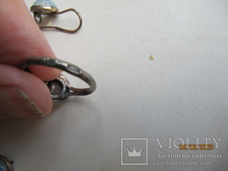 Кольцо и серьги СССР 875 проба под реставрацию, фото №5