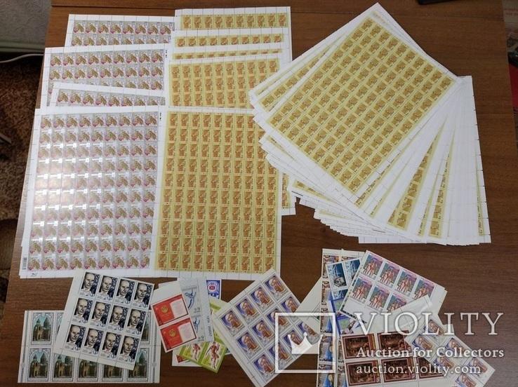 50 листов марок России и Украины, много частей листов СССР
