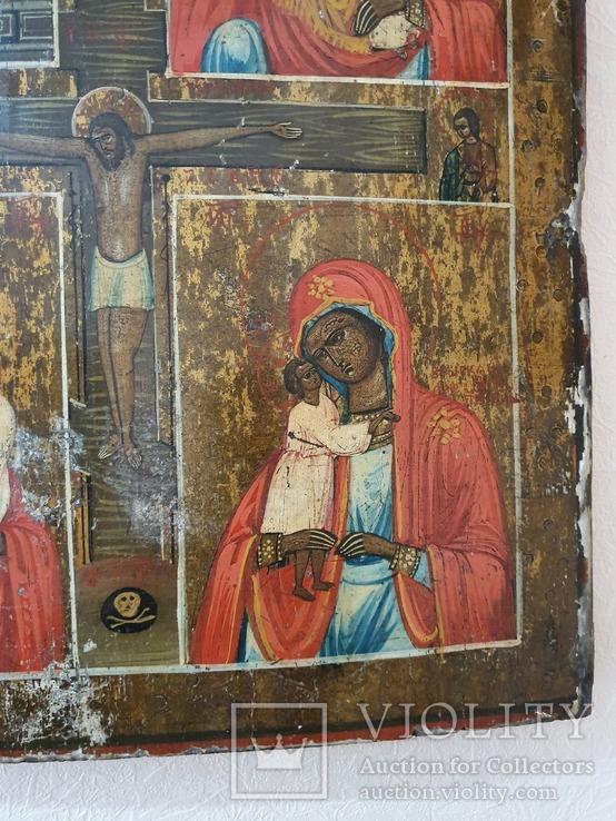Четырёхчастная икона с сюжетами Богородицы, фото №5