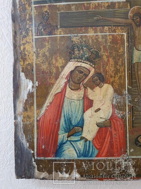 Четырёхчастная икона с сюжетами Богородицы, фото №6