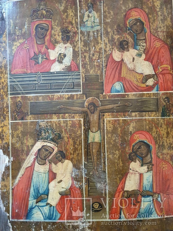 Четырёхчастная икона с сюжетами Богородицы, фото №7